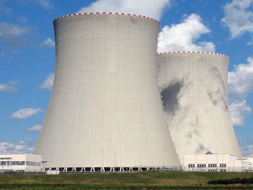 large cooling tower at a factory