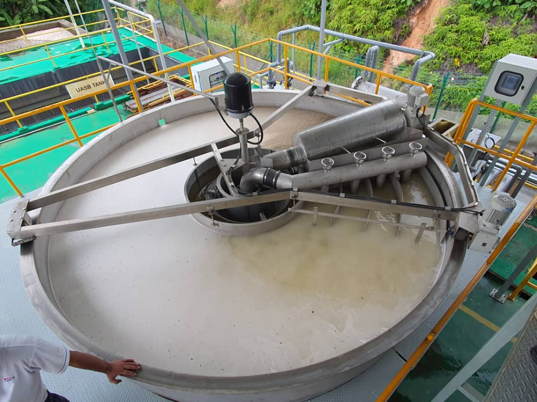 water being treated with enzyme