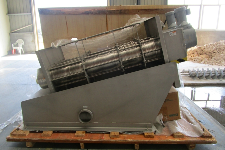 a sludge dewatering equipment in a factory